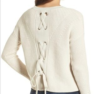 Lucky Brand Back Lace-Up Pullover Sweater